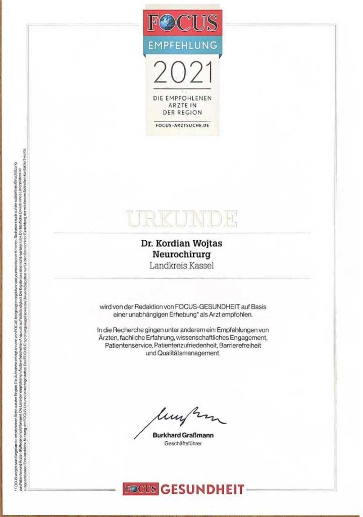 Focus Empfehlung - Dr. med. Kordian Wojtas